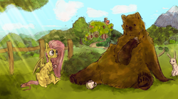 Size: 2099x1171 | Tagged: artist:lucitfandmlp, bear, crepuscular rays, cup, cute, duo, fluttershy, fluttershy's cottage, grass, harry, hoof hold, outdoors, pegasus, pony, rabbit, safe, shyabetes, sitting, smiling, teacup, tea party, teapot