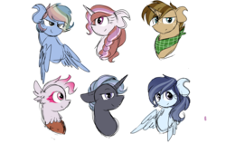 Size: 2200x1400 | Tagged: safe, artist:thepegasisterpony, oc, oc:liberty belle, oc:meadowlark, oc:north star, oc:primrose shortcake, bust, magical lesbian spawn, neckerchief, offspring, parent:applejack, parent:daring do, parent:fluttershy, parent:gilda, parent:pinkie pie, parent:prince blueblood, parent:rainbow dash, parent:rarity, parent:soarin', parent:thunderlane, parent:trenderhoof, parent:twilight sparkle, parents:daringdash, parents:gildapie, parents:rarilane, parents:soarinshy, parents:trenderjack, parents:twiblood, simple background, transparent background