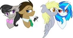 Size: 956x505 | Tagged: artist:thepegasisterpony, derpy hooves, derpyscratch, dj pon-3, doctavia, doctor whooves, earth pony, female, lesbian, male, mare, octavia melody, pegasus, pony, safe, shipping, simple background, stallion, straight, time turner, transparent background, unicorn, vinyl scratch
