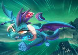 Size: 1456x1030 | Tagged: safe, artist:dormin-kanna, artist:light262, princess ember, dragon, angry, bloodstone scepter, collaboration, dragon lord ember, dragoness, fangs, female, fire, fire breath, flying, gritted teeth, signature, solo, speed lines