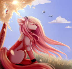 Size: 2400x2300 | Tagged: safe, artist:magicalbrownie, oc, oc only, oc:akarui sakura, bird, dove, pegasus, pony, art trade, cloud, colored wings, colored wingtips, eyes closed, female, grass, headband, high res, lens flare, long mane, long tail, mare, sitting, sky, socks (coat markings), solo, sun, tree, windswept mane