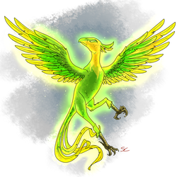 Size: 2000x2000   Tagged: safe, artist:sourcherry, balefire phoenix, bird, phoenix, fallout equestria, ambiguous gender, animal, glow, glowing eyes, mutant manual, simple background, solo, white background