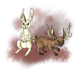 Size: 2000x2000 | Tagged: safe, artist:sourcherry, almiraj, jackalope, rabbit, fallout equestria, antlers, bunny ears, horns, mutant manual, red eyes, simple background, white background