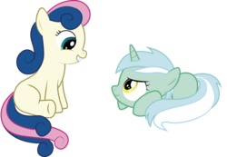 Size: 4520x3124 | Tagged: artist:swivel-zimber, bon bon, duo, earth pony, female, filly, lyra heartstrings, pony, prone, safe, simple background, sweetie drops, transparent background, unicorn, vector
