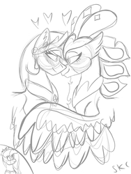 Size: 600x800 | Tagged: safe, artist:sugarkittycat04, princess celestia, princess skystar, queen novo, alicorn, classical hippogriff, hippogriff, pony, my little pony: the movie, female, grayscale, heart, lesbian, monochrome, novolestia, shipping, simple background, white background