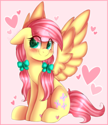 Size: 3470x4000 | Tagged: safe, artist:adostume, fluttershy, pegasus, pony, alternate hairstyle, blushing, cute, cutie mark hair accessory, daaaaaaaaaaaw, eye clipping through hair, female, floppy ears, hairclip, head turn, heart, heart eyes, looking at you, looking sideways, loving gaze, mare, pigtails, ponytails, shy, shyabetes, sitting, smiling, solo, spread wings, wingding eyes, wings