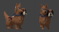 Size: 3325x1843 | Tagged: 3d, artist:sindroom, dog, multiple heads, orthros, safe, solo, two heads, wip