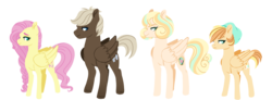 Size: 1566x578 | Tagged: artist:whalepornoz, dumbbell, dumbshy, fluttershy, line-up, oc, oc:autumn glory, oc:spring azure, offspring, parent:dumbbell, parent:fluttershy, parents:dumbshy, safe, simple background, transparent background