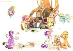 Size: 1300x914 | Tagged: safe, artist:seamaggie, applejack, fluttershy, pinkie pie, rainbow dash, rarity, spike, twilight sparkle, alicorn, dragon, earth pony, pegasus, pony, unicorn, book, crossover, flower, flower in hair, flower in tail, glados, inkwell, mane seven, mane six, personality core, portal, portal (valve), portal gun, quill, simple background, turret, twilight sparkle (alicorn), wheatley, white background