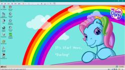 Size: 1366x768 | Tagged: safe, artist:raka-chanrio, artist:supermatt314, rainbow dash (g3), cloud, g3, looking at you, microsoft, rainbow, text, wallpaper, windows, windows nt
