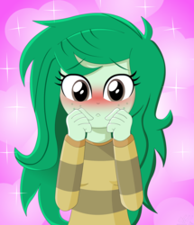 Size: 1404x1632 | Tagged: safe, artist:oshitsukiryuu, wallflower blush, equestria girls, equestria girls series, forgotten friendship, blushing, clothes, cute, female, flowerbetes, freckles, pun, solo, sweater, visual pun