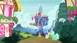 Size: 1920x1080   Tagged: safe, screencap, bon bon, lyra heartstrings, sweetie drops, bird, shadow play, bush, cloud, flag, happy, hill, house, looking at each other, mountain, ponyville, raised hoof, road, scenery, smiling, twilight's castle, waterfall