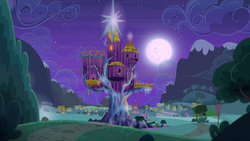 Size: 1920x1080 | Tagged: safe, screencap, to where and back again, bush, cloud, flag, hill, house, moon, mountain, night, no pony, ponyville, ponyville town hall, river, road, scenery, stars, tent, tree, trixie's wagon, twilight's castle, waterfall