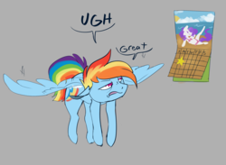 Size: 3000x2200 | Tagged: 30 minute art challenge, artist:veesocks, calendar, flying, grumpy, implied raridash, monday, rainbow dash, safe, simple background