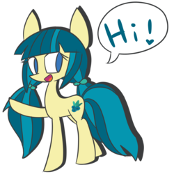 Size: 2000x2000 | Tagged: safe, artist:luckyclau, juniper montage, earth pony, pony, cute, equestria girls ponified, exclamation point, female, heart, hi, junibetes, looking at you, mare, missing accessory, no pupils, open mouth, pigtails, ponified, raised hoof, simple background, smiling, speech bubble, transparent background, twintails, waving
