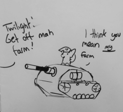 Size: 1379x1263 | Tagged: artist:tjpones, black and white, dialogue, female, grayscale, implied applejack, mare, missing horn, monochrome, offscreen character, pony, safe, simple background, solo, tank (vehicle), traditional art, twilight sparkle, tyrant sparkle