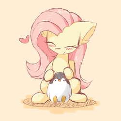 Size: 2000x2000 | Tagged: artist:morningbullet, blushing, cute, eyes closed, female, fluttershy, happy, heart, mare, penguin, pony, safe, simple background, sitting, smiling