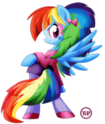 Size: 848x1000 | Tagged: artist:nanook123, clothes, ear piercing, earring, female, jewelry, looking at you, looking back, looking back at you, makeup, mare, pegasus, piercing, pony, rainbow dash, safe, simple background, skirt, solo, white background