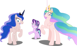 Size: 6724x4096 | Tagged: absurd res, alicorn, a royal problem, artist:tralomine, blushing, edit, editor:slayerbvc, embarrassed, furless, furless edit, grin, looking back, missing accessory, now you fucked up, nude edit, nudity, plot, plucked, princess celestia, princess luna, raised hoof, safe, shaved, simple background, smiling, spell gone wrong, starlight glimmer, transparent background, underhoof, unicorn, vector, vector edit