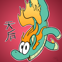Size: 2000x2000 | Tagged: artist:teletom, cartoon, chinese, community related, cute, doodle, fire, gradient background, longma, looking at you, mane of fire, red, safe, simple, them's fightin' herds, tianhuo