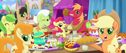 Size: 1920x804 | Tagged: safe, screencap, apple bloom, apple fritter, applejack, big macintosh, caramel apple, cherry cola, cherry fizzy, golden delicious, granny smith, earth pony, pony, my little pony: the movie, apple, apple family, apple family member, apple juice, apple pie, apple slice, background pony, blueberry, cake, carrot, carrot cake (food), crumbs, cupcake, eating, female, filly, food, fruit punch, grapes, herbivore, juice, licking, licking lips, male, mare, one eye closed, pie, pineapple, pudding, puffy cheeks, punch (drink), punch bowl, sandwich, shishkebab, stallion, tongue out, we got this together, wink