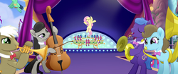 Size: 1920x804 | Tagged: safe, screencap, beauty brass, fluttershy, frederic horseshoepin, octavia melody, parish nandermane, bird, earth pony, parrot, pegasus, pony, my little pony: the movie, cello, cymbals, flying, musical instrument, singing, songbird, sousaphone, stage, trumpet, tuba, we got this together
