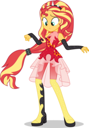 Size: 5295x7573   Tagged: safe, artist:sugar-loop, sunset shimmer, equestria girls, equestria girls series, forgotten friendship, absurd resolution, clothes, dress, female, ponied up, simple background, solo, super ponied up, transparent background, vector