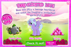 Size: 1084x720 | Tagged: safe, fond feather, pony, hard to say anything, advertisement, costs real money, crack is cheaper, female, gameloft, gem, giddy fanfilly, greed, greedloft, mare, official, sale, solo