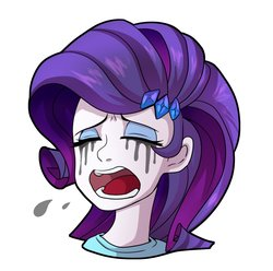 Size: 1057x1048 | Tagged: safe, artist:hosikawa, rarity, human, equestria girls, crying, female, hairpin, makeup, marshmelodrama, mascarity, running makeup, simple background, solo, white background