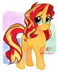 Size: 1047x1280   Tagged: safe, artist:antych, sunset shimmer, pony, unicorn, equestria girls, equestria girls series, forgotten friendship, abstract background, cute, female, mare, shimmerbetes, simple background, smiling, solo, white background