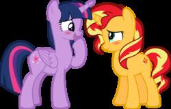 Size: 5071x3251 | Tagged: safe, artist:jhayarr23, sunset shimmer, twilight sparkle, alicorn, pony, unicorn, equestria girls, equestria girls series, forgotten friendship, blush sticker, blushing, cute, female, lesbian, shimmerbetes, shipping, simple background, smiling, sunsetsparkle, transparent background, twiabetes, twilight sparkle (alicorn), vector