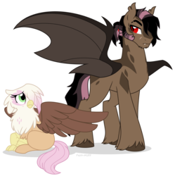 Size: 914x918 | Tagged: artist:faith-wolff, bat pony, brother and sister, classical hippogriff, crouching, duo, female, half-siblings, hippogriff, hybrid, interspecies offspring, magical lesbian spawn, male, next generation, oc, oc:aerenth, oc:galah rose, oc only, offspring, parent:fluttershy, parent:gilda, parent:king sombra, parents:gildashy, parents:sombrashy, pony, safe, sideburns, simple background, slit pupils, stallion, transparent background