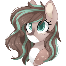 Size: 2048x2048 | Tagged: artist:cinnamontee, bust, earth pony, female, high res, mare, oc, oc:mint, oc only, pony, portrait, safe, simple background, solo, transparent background