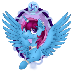 Size: 1024x1004 | Tagged: safe, artist:spokenmind93, oc, oc only, oc:parcly taxel, alicorn, genie, ain't never had friends like us, albumin flask, alicorn oc, bracelet, bust, female, horn ring, jewelry, looking at you, necklace, portrait, signature, simple background, solo, spread wings, transparent background, watermark, wings