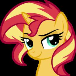 Size: 500x500 | Tagged: safe, artist:the smiling pony, sunset shimmer, pony, unicorn, derpibooru, .svg available, derpibooru badge, female, meta, simple background, smiling, solo, svg, transparent background, vector