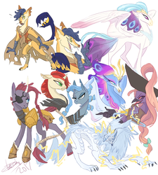 Size: 900x1000 | Tagged: safe, artist:creeate97, capper dapperpaws, captain celaeno, queen novo, storm king, tempest shadow, anthro, classical hippogriff, digitigrade anthro, hippogriff, pony, storm creature, unicorn, my little pony: the movie, the art of my little pony: the movie, anthro with ponies, armor, bow, broken horn, concept art, eyepatch, female, four eyes, hat, lightning, madame harpy, male, mare, mendax, pirate hat, scorpion tail, simple background, tail wrap, three eyes, white background