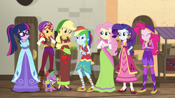 Size: 1912x1072 | Tagged: safe, screencap, applejack, fluttershy, pinkie pie, rainbow dash, rarity, sci-twi, spike, spike the regular dog, sunset shimmer, twilight sparkle, dog, equestria girls, movie magic, spoiler:eqg specials, boots, clothes, costume, dress, female, humane five, humane seven, humane six, india movie set, paws, shoes, skirt, sunshim