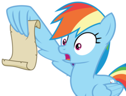 Size: 6394x4854 | Tagged: safe, artist:hendro107, rainbow dash, pegasus, pony, grannies gone wild, spoiler:s08, .svg available, absurd resolution, female, holding, mare, open mouth, rainbow dash reading a scroll, simple background, solo, transparent background, vector, wing hands