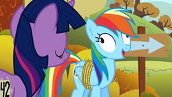 Size: 1280x720 | Tagged: safe, screencap, rainbow dash, twilight sparkle, fall weather friends, derp, eyes closed, faic, laughing, rainbow dash is best facemaker, rainbow derp, rope, sign