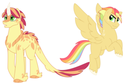 Size: 1500x1000 | Tagged: safe, artist:faith-wolff, oc, oc only, dracony, hybrid, pegasus, pony, commission, duo, female, flying, interspecies offspring, magical lesbian spawn, male, offspring, parent:applejack, parent:rainbow dash, parent:spike, parent:sunset shimmer, parents:appledash, parents:sunsetspike, rainbow hair, scales, simple background, stallion, unshorn fetlocks, white background