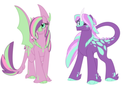 Size: 1500x1000 | Tagged: safe, artist:faith-wolff, oc, oc only, dracony, hybrid, pony, bangs, colored hooves, commission, duo, female, half-siblings, half-sisters, interspecies offspring, mare, offspring, one eye closed, parent:fluttershy, parent:spike, parent:starlight glimmer, parents:flutterspike, parents:sparlight, scales, simple background, unshorn fetlocks, white background, wing claws, wink