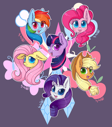 Size: 3064x3484   Tagged: safe, artist:dsp2003, part of a set, applejack, fluttershy, pinkie pie, rainbow dash, rarity, twilight sparkle, earth pony, pegasus, pony, unicorn, :p, blushing, bust, cowboy hat, cutie mark, cutie mark background, ear fluff, female, floppy ears, hat, high res, looking at you, mane six, mare, open mouth, purple background, signature, silly, simple background, tongue out, white outline