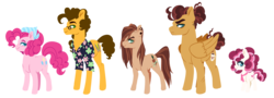 Size: 1807x649 | Tagged: safe, artist:whalepornoz, cheese sandwich, pinkie pie, oc, oc:giggles, oc:rockin' beet, oc:toffee, alternate hairstyle, bandana, cheesepie, clothes, family, female, glasses, hawaiian shirt, line-up, male, offspring, parent:cheese sandwich, parent:pinkie pie, parents:cheesepie, piercing, shipping, shirt, simple background, straight, transparent background