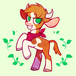 Size: 1500x1500 | Tagged: abstract background, arizona cow, artist:dawnfire, bandana, cloven hooves, community related, cow, female, green background, leaves, looking at you, no pupils, rearing, safe, simple background, smiling, solo, them's fightin' herds