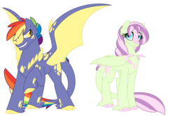 Size: 1500x1000 | Tagged: safe, artist:faith-wolff, oc, oc only, dracony, hybrid, colored claws, colored hooves, commission, duo, female, half-siblings, male, mare, offspring, parent:fluttershy, parent:rainbow dash, parent:spike, parents:flutterspike, parents:rainbowspike, rainbow hair, scales, simple background, spread wings, stallion, unshorn fetlocks, white background, wing claws, wings