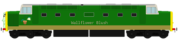 Size: 780x178 | Tagged: safe, artist:dwayneflyer, derpibooru exclusive, wallflower blush, class 55, deltic, inanimate tf, simple background, style emulation, thomas the tank engine, thomas-fied, train, trainified, transformation, transparent background