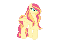 Size: 1500x1000 | Tagged: safe, artist:faith-wolff, oc, oc only, pegasus, pony, commission, female, magical lesbian spawn, mare, offspring, parent:fluttershy, parent:sunset shimmer, parents:sunshyne, simple background, solo, white background