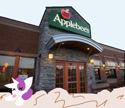 Size: 552x476 | Tagged: safe, artist:vile the deer, edit, rarity, unicorn, applebee's, dead, death, female, fight, mare, meme, rarity fighting a giant applebee's, request