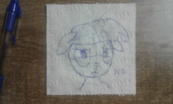Size: 1280x768 | Tagged: safe, artist:badumsquish, derpibooru exclusive, twilight sparkle, pony, unicorn, angry, bust, female, floppy ears, glare, irl, looking at you, mare, no, pen, photo, portrait, solo, table, toilet paper, toilight paper, traditional art, unamused