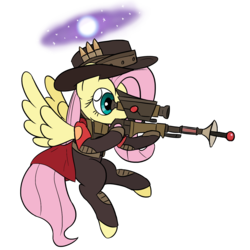 Size: 1460x1460   Tagged: safe, artist:phat_guy, derpibooru exclusive, fluttershy, pegasus, pony, aiming, belt, bullet, cape, clothes, crossover, female, flying, gloves, gun, hat, hoof hold, hooves, jacket, laser gun, mare, neutron star, optical sight, pants, patches, rifle, scope, simple background, sniper, sniper rifle, snipershy, solo, space, spread wings, stars, team fortress 2, transparent background, unusual hat, video game, weapon, wings